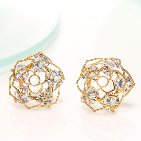 Cubic Zircon (CZ) Stud Earring, Brass, with Cubic Zirconia, Flower, real gold plated, lead & cadmium free, 15mm, Sold By Pair