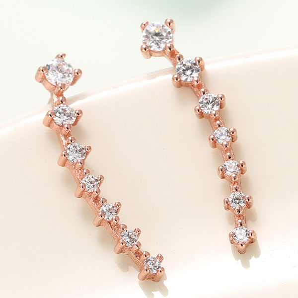 Cubic Zircon (CZ) Stud Earring, Brass, real rose gold plated, with cubic zirconia, lead & cadmium free, 22mm, Sold By Pair