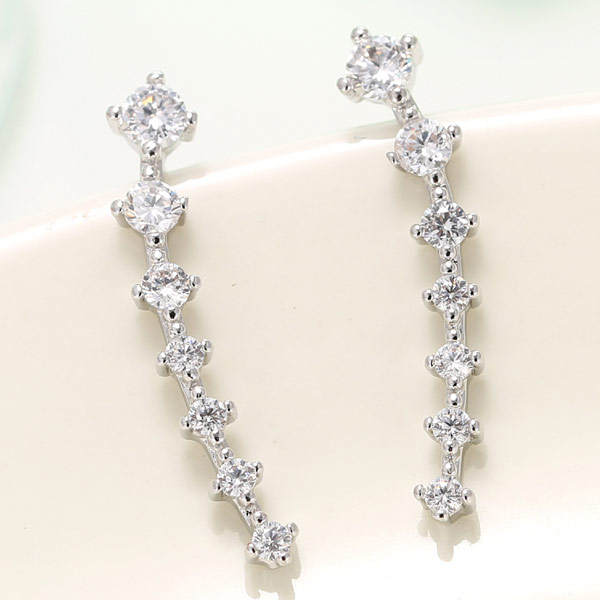 Cubic Zircon (CZ) Stud Earring, Brass, platinum plated, with cubic zirconia, lead & cadmium free, 22mm, Sold By Pair