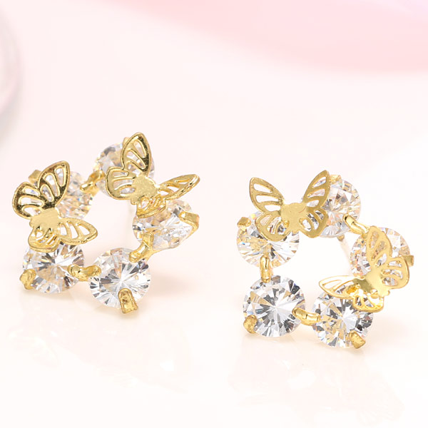 Cubic Zircon (CZ) Stud Earring, Brass, Butterfly, real gold plated, with cubic zirconia, lead & cadmium free, 16mm, Sold By Pair