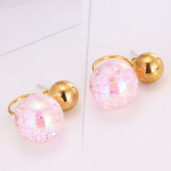 Стеклянный глобус Серьги, Латунь, с Акрил, плакирован золотом, красочным покрытием, не содержит свинец и кадмий, 15x8mm, продается Пара