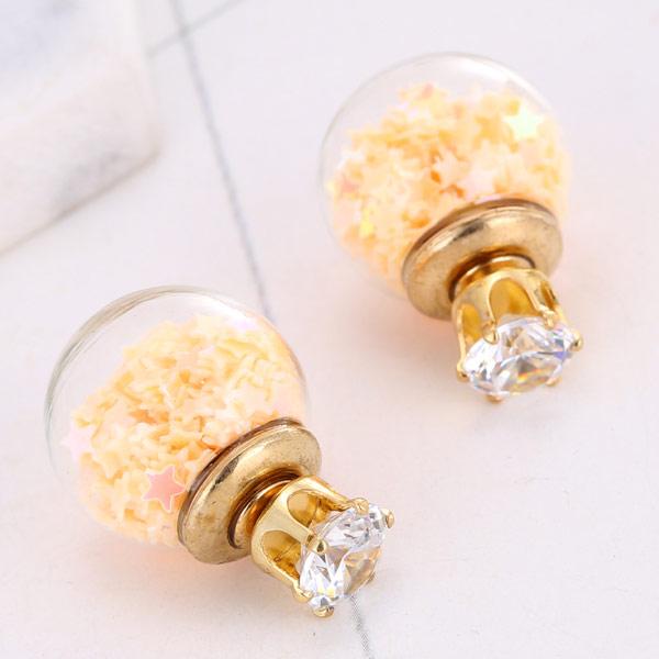 Стеклянный глобус Серьги, Латунь, с Стеклянный & Акрил, плакирован золотом, инкрустированное микро кубического циркония, не содержит свинец и кадмий, 15x8mm, продается Пара