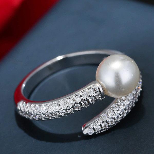 Кубический циркон микро проложить кольцо-латунь, Латунь, с Стеклянный жемчуг, покрытый платиной, инкрустированное микро кубического циркония, не содержит свинец и кадмий, 3-5mm, размер:6-8, продается PC