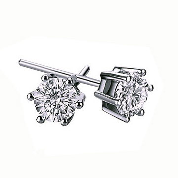 Cubic Zircon (CZ) Stud Earring, Brass, platinum plated, with cubic zirconia, lead & cadmium free, 5mm, Sold By Pair