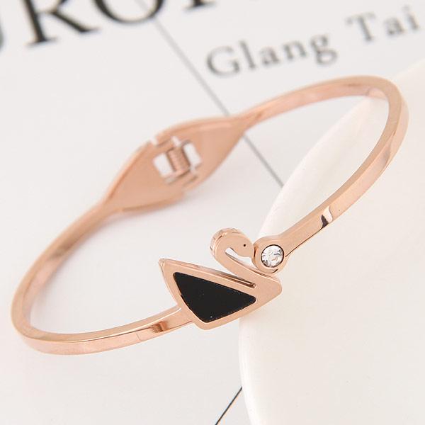 титан браслет на запястье/щиколотку, плакированный цветом розового золота, эмаль & со стразами, 58x48mm, внутренний диаметр:Приблизительно 58mm, длина:Приблизительно 7 дюймовый, продается PC