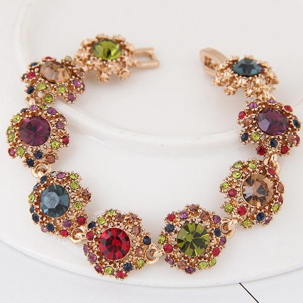Акриловые браслеты, цинковый сплав, с чешский & Кристаллы, Форма цветка, плакированный цветом розового золота, граненый, не содержит свинец и кадмий, 165mm, Продан через 6.5 дюймовый Strand
