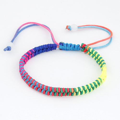 Моды создать воск шнур браслеты, Вощеная хлопок шнур, регулируемый, разноцветный, 175mm, Продан через Приблизительно 6.89 дюймовый Strand