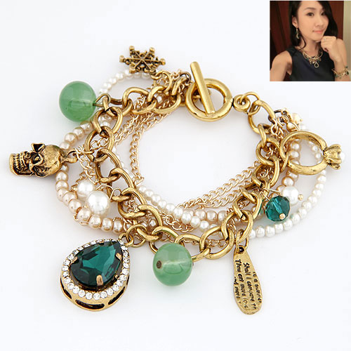 Zinc Alloy Bracelet with Rhinestone Teardrop gold color plated charm bracelet lead   cadmium free 180-30x18mm Length:Approx 7.09 Inch