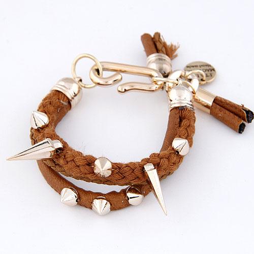 Шерсть браслет шнура, Пластик с медным покрытием, с Шерсть, плакирован золотом, коричневый, не содержит свинец и кадмий, 175mm, Продан через Приблизительно 6.89 дюймовый Strand