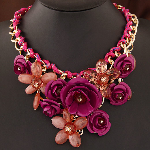 Fashion Statement Necklace, Zinc Alloy, with Acrylic, Flower, gold color plated, purple, lead & cadmium free, 400x120x80mm, Sold Per Approx 15.75 Inch Strand