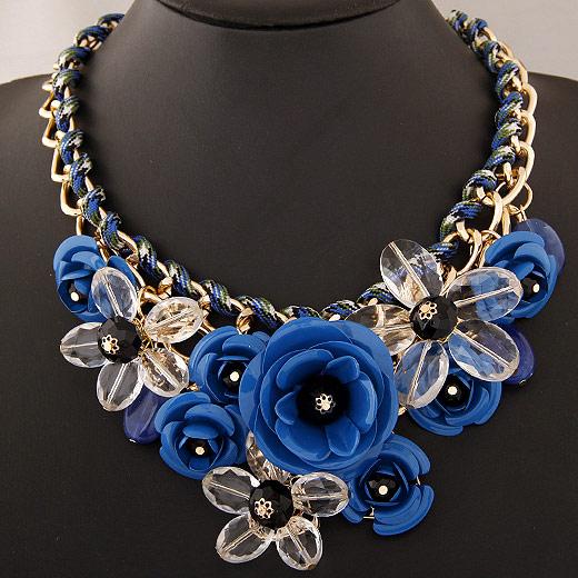 Сеть Тканые ожерелье, цинковый сплав, с Акрил, Форма цветка, плакирован золотом, твист овал, темно-синий, не содержит свинец и кадмий, 400x120x80mm, Продан через Приблизительно 15.75 дюймовый Strand