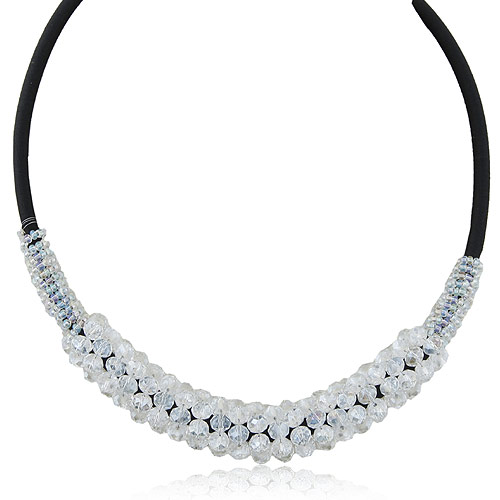 Crystal Zinc Alloy Necklace, with Crystal, clear, lead & cadmium free, 400x130x15mm, Sold Per Approx 15.75 Inch Strand