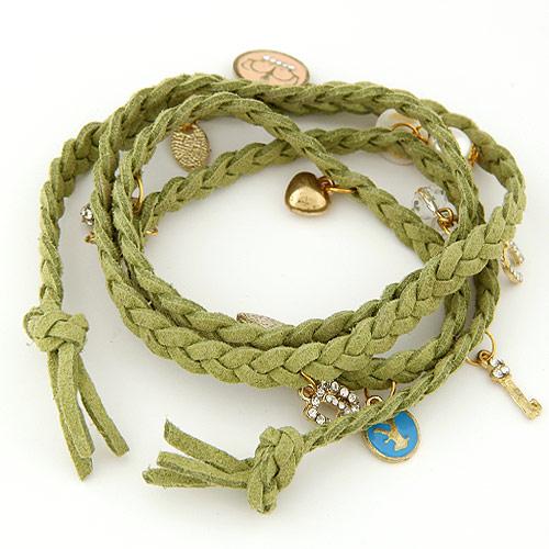 Модные браслеты из шнура вельвета, цинковый сплав, с шерстяной шнур, плакирован золотом, браслет-оберег & 4-стренги & эмаль, зеленый, не содержит свинец и кадмий, 820x20mm, Продан через Приблизительно 32.28 дюймовый Strand