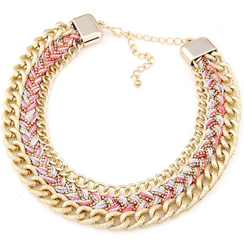 Сеть Тканые ожерелье, цинковый сплав, с Шерсть, с 5cm наполнитель цепи, плакирован золотом, не содержит свинец и кадмий, 400x32mm, Продан через Приблизительно 15.75 дюймовый Strand