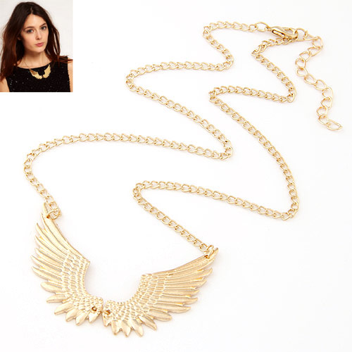 Zinc Alloy Jewelry Necklace, Wing Shape, gold color plated, twist oval chain, lead & cadmium free, 450x63mm, Sold Per Approx 17.72 Inch Strand