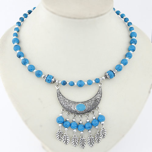 Acrylic Necklace, Zinc Alloy, with Acrylic, antique silver color plated, blue, 82x46mm, Sold Per Approx 15.5 Inch Strand