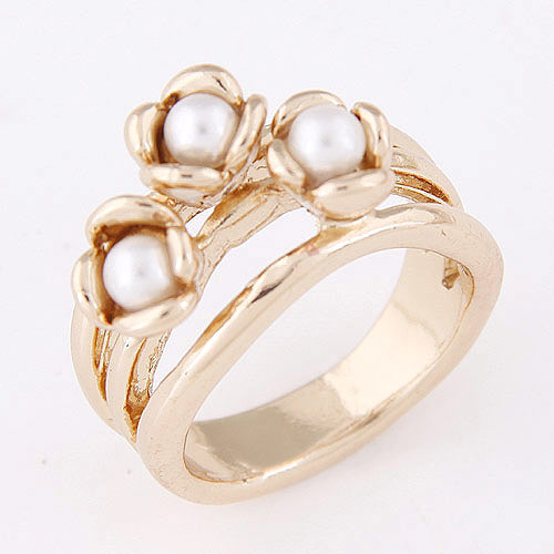 Zinc Alloy Finger Ring, with ABS Plastic Pearl, Crown, gold color plated, lead & cadmium free, 10mm, US Ring Size:6.5, Sold By PC