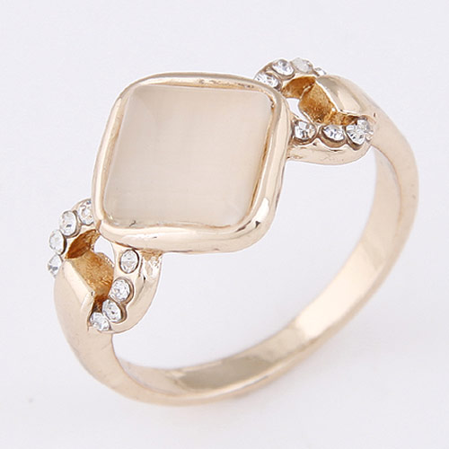 Cats Eye Finger Ring Zinc Alloy with Cats Eye   Rhinestone real gold plated lead   cadmium free 13mm US Ring Size:1.5