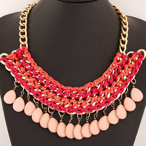 Chain Woven Necklace, Zinc Alloy, with Nylon Cord & Resin, Teardrop, gold color plated, twist oval chain, red, lead & cadmium free, 400x170x65mm, Sold Per Approx 15.75 Inch Strand