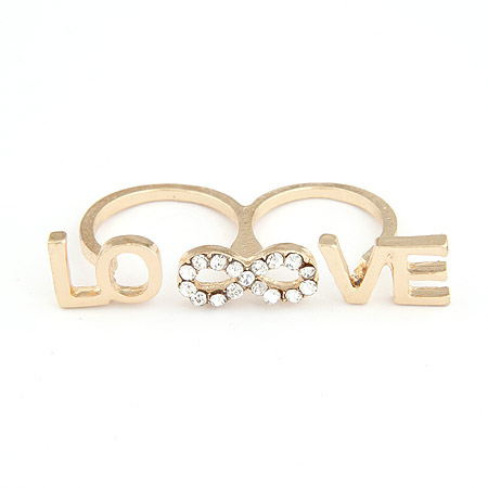 Zinc Alloy Double Finger Ring, Letter, gold color plated, lead & cadmium free, 53x10mm, US Ring Size:6-9, Sold By PC
