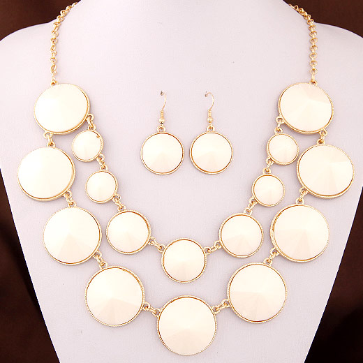 Resin Jewelry Sets, earring & necklace, Zinc Alloy, with Resin, Flat Round, gold color plated, white, lead & cadmium free, 450x30x22mm, Length:Approx 17.72 Inch, Sold By Set