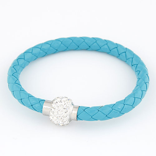 PU Cord Bracelets, with Rhinestone, zinc alloy clasp, platinum color plated, skyblue, 13mm, Sold Per Approx 7.87 Inch Strand