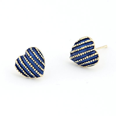 Zinc Alloy Stud Earring, Heart, real gold plated, with rhinestone, lead & cadmium free, 11mm, Sold By Pair