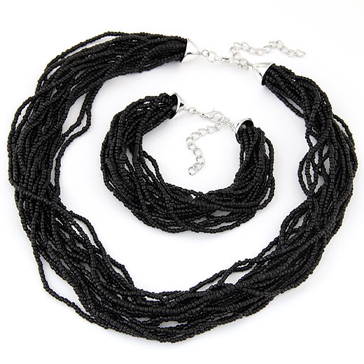Glass Seed Beads Jewelry Set, bracelet & necklace, zinc alloy lobster clasp, platinum color plated, black, 400x180mm, Length:Approx 6.5 Inch, Approx 17.5 Inch, Sold By Set