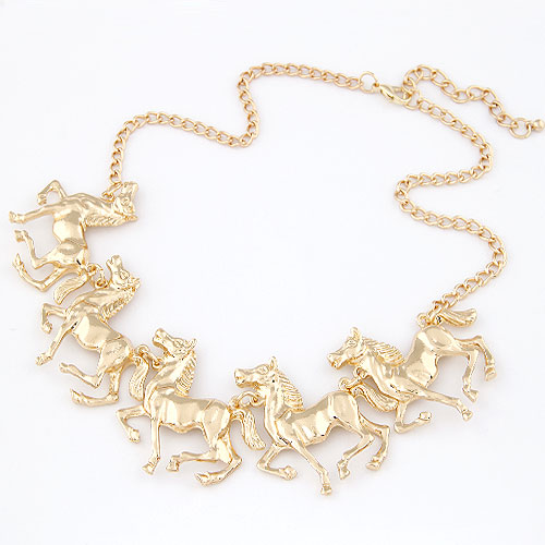 Zinc Alloy Jewelry Necklace, Horse, gold color plated, twist oval chain, lead & cadmium free, 400x180x38mm, Sold Per Approx 15.75 Inch Strand