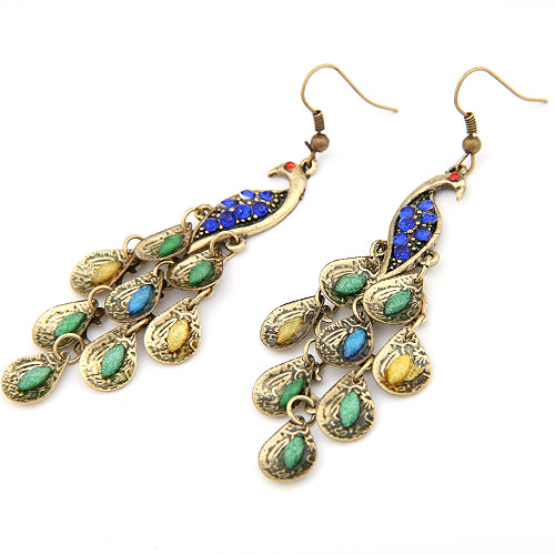 Zinc Alloy Drop Earring, with ABS Plastic Pearl, Peacock, plated, with rhinestone, lead & cadmium free, 83x25mm, Sold By Pair