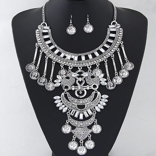 Vintage Coin Statement Jewelry Set earring   necklace Zinc Alloy with Resin antique silver color plated twist oval chain   faceted clear lead   cadmium free 400x150mm 33x15mm Length:Approx 15.75 Inch