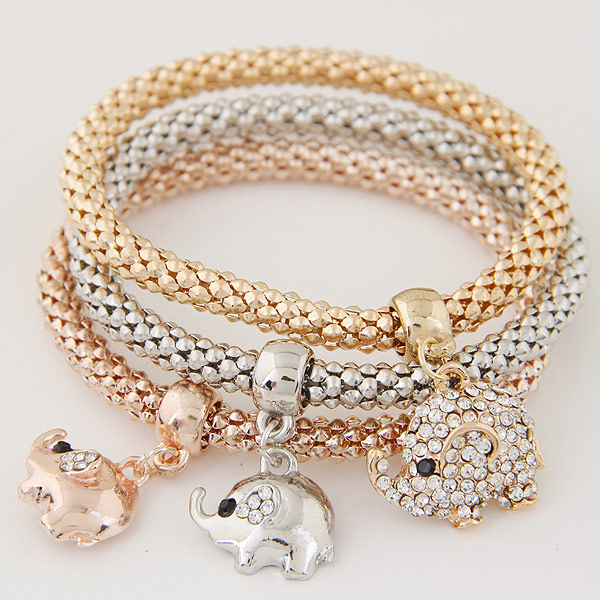 Zinc Alloy Bracelet with Iron Elephant plated with rhinestone lead   cadmium free 175mm Length:Approx 6.89 Inch 3Strands/Set