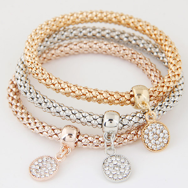 Zinc Alloy Bracelet with Iron Flat Round plated with rhinestone lead   cadmium free 175mm Length:Approx 6.89 Inch 3Strands/Set