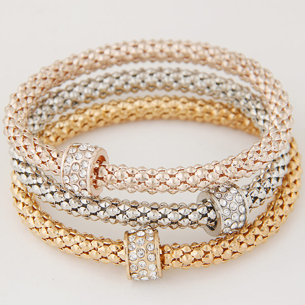 Zinc Alloy Bracelet with Iron Rondelle plated with rhinestone lead   cadmium free 175mm Length:Approx 6.89 Inch 3Strands/Set