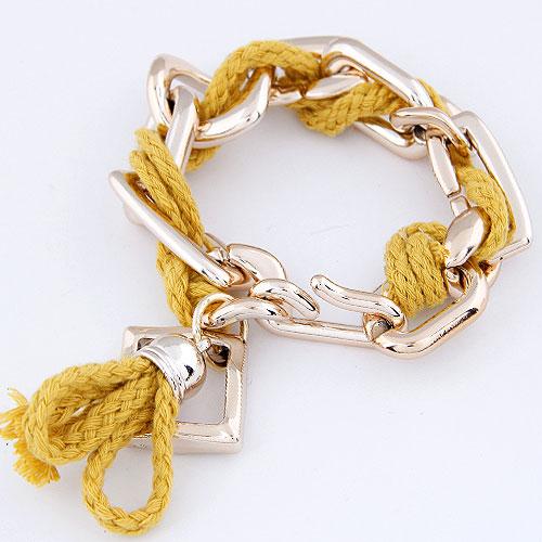 CCB Браслеты, Пластик с медным покрытием, с Шерсть, плакирован золотом, желтый, не содержит свинец и кадмий, 200mm, Продан через Приблизительно 7.87 дюймовый Strand