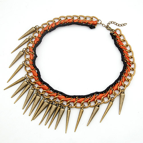 Chain Woven Necklace, Zinc Alloy, with Satin Ribbon, Spike, antique bronze color plated, black, lead & cadmium free, 400mm, Sold Per Approx 15.75 Inch Strand