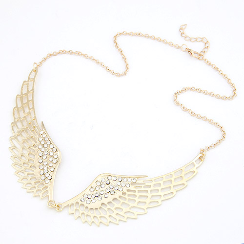 Zinc Alloy Jewelry Necklace, Wing Shape, gold color plated, oval chain, lead & cadmium free, 400x100x35mm, Sold Per Approx 15.75 Inch Strand