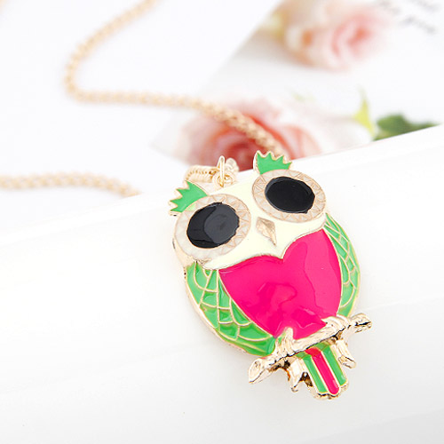 Zinc Alloy Sweater Chain Necklace, Owl, gold color plated, twist oval chain & enamel, bright rosy red, lead & cadmium free, 700x50x32mm, Sold Per 27.56 Inch Strand
