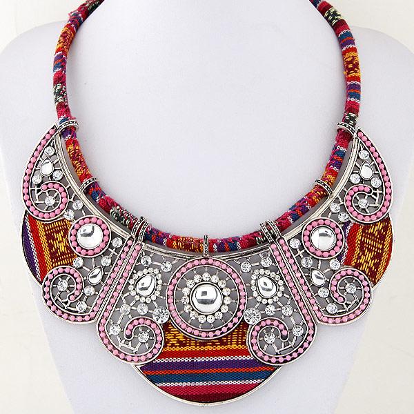 Модные ожерелья, цинковый сплав, с Хлопковое белье, плакированный цветом под старое серебро, со стразами, не содержит свинец и кадмий, 450mm, Продан через Приблизительно 17.72 дюймовый Strand