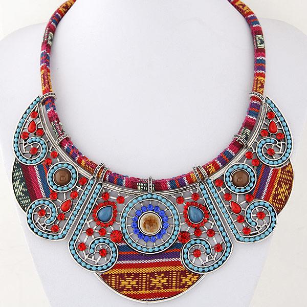 Модные ожерелья, цинковый сплав, с Хлопковое белье, плакированный цветом под старое серебро, со стразами, 450mm, Продан через Приблизительно 17.72 дюймовый Strand