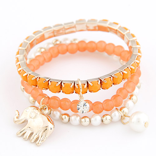 Zinc Alloy Bracelet Set with Rhinestone   Resin Elephant gold color plated 3-strand lead   cadmium free 170mm Length:Approx 6.5 Inch