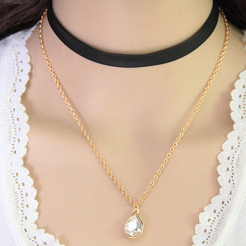 Multi Layer Necklace Zinc Alloy with PU   Crystal Teardrop gold color plated oval chain   2-strand lead   cadmium free 20x11mm Sold Per Approx 11.5 Inch Strand