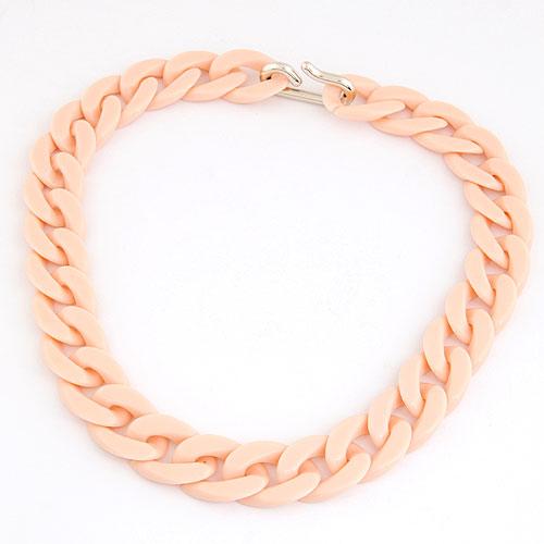 CCB Ожерелья, Пластик с медным покрытием, твист овал, светло-розовый, 420x20mm, Продан через Приблизительно 16.54 дюймовый Strand