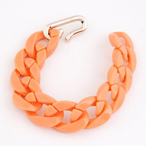 Акриловые браслеты, Пластик с медным покрытием, с Акрил, твист овал, оранжевый, 20mm, Продан через Приблизительно 7.87 дюймовый Strand