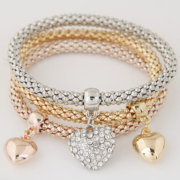 Zinc Alloy Bracelet with Iron Heart plated with rhinestone lead   cadmium free 175mm Length:Approx 6.89 Inch 3Strands/Set