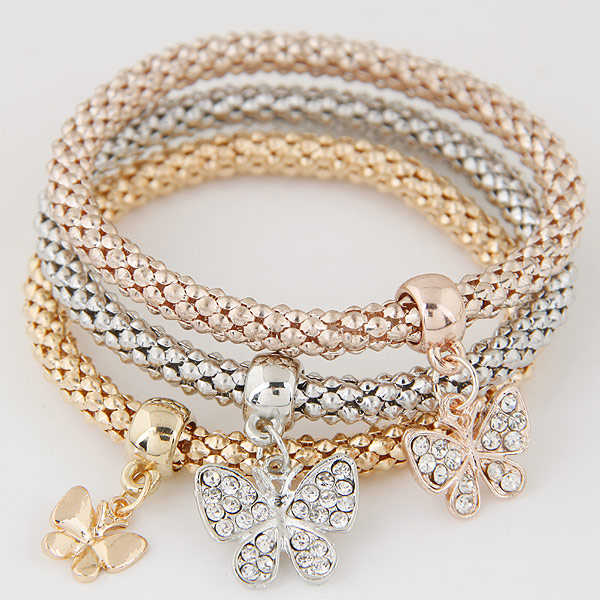 Zinc Alloy Bracelet with Iron Butterfly plated with rhinestone lead   cadmium free 175mm Length:Approx 6.89 Inch 3Strands/Set