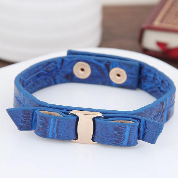 ПУ шнур браслеты, цинковый сплав, с Искусственная кожа, плакирован золотом, Женский, голубой, не содержит свинец и кадмий, 10mm, Продан через Приблизительно 6.89 дюймовый Strand