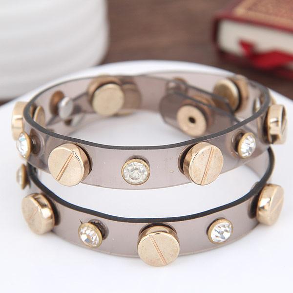 Силиконовые браслеты, цинковый сплав, с Силикон, плакирован золотом, со стразами & двунитевая, не содержит свинец и кадмий, 400x11mm, Продан через Приблизительно 15.75 дюймовый Strand