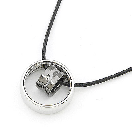 Stainless Steel Jewelry Necklace, with Waxed Linen Cord, Donut, 400x24mm, Sold Per Approx 15.75 Inch Strand