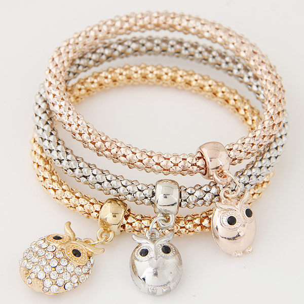 Zinc Alloy Bracelet with Iron Owl plated with rhinestone lead   cadmium free 175mm Length:Approx 6.89 Inch 3Strands/Set